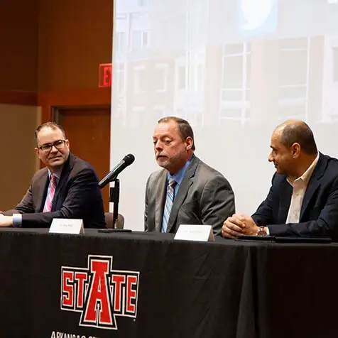 Hytrol VP for Corporate Development Bob West served as a panelist during A-State's International Exhibition of Countries and Regions.