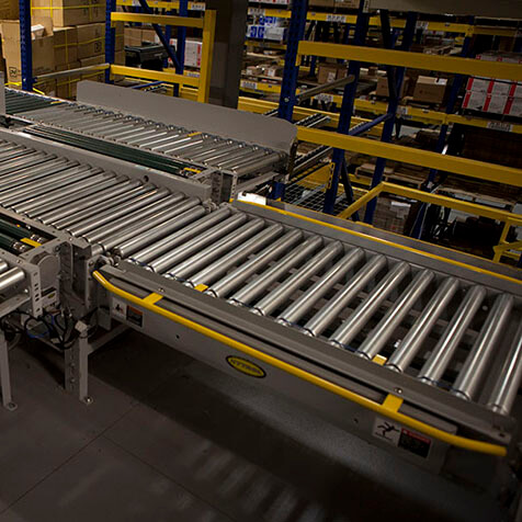 Non-powered roller conveyor ready to move products.