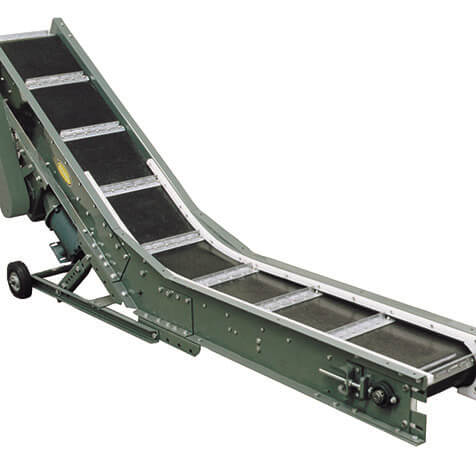 Portable conveyor easily positioned under punch presses and extruding machines to catch small steel, plastics, or aluminum stampings, etc.