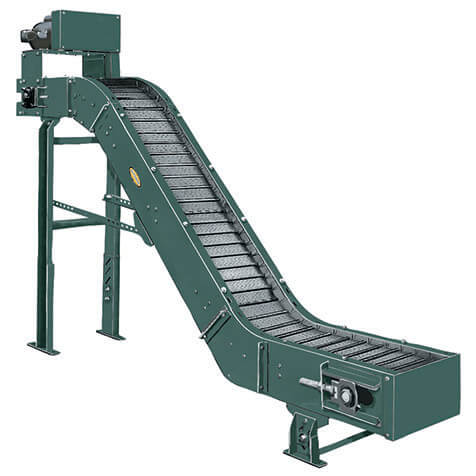Portable conveyor with hinged steel belt used for carrying hot, oily parts from punch presses, forging machines, etc., to drums, hoppers, or other operations