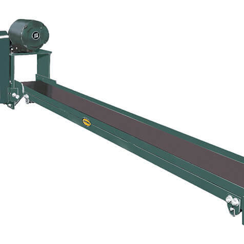 Portable conveyor easily positioned in or under punch presses, plastic injection molding machines, extruding equipment where small steel or aluminum stampings, plastic parts, etc. must be quickly conveyed to hoppers or drums.
