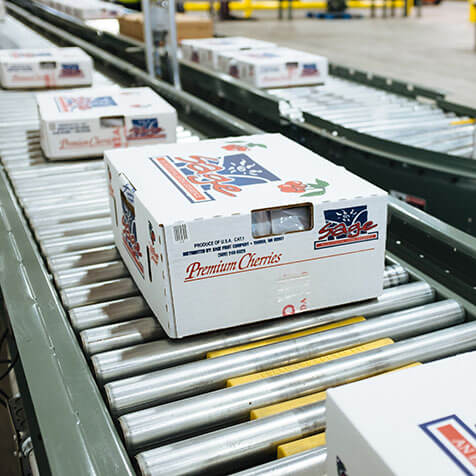Zero-Pressure, accumulating live roller conveyor used to move packages